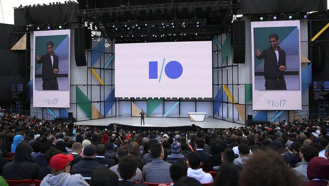 Google CEO Sundar Pichai delivers the keynote address at the Google I/O 2017 Conference