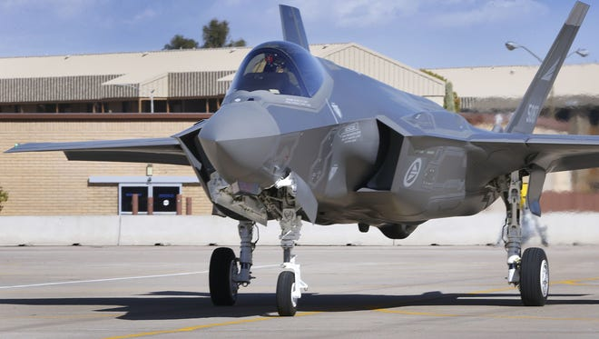 """Luke Air Force Base in Glendale announced June 12, 2017, it would indefinitely ground F-35 fighter jets while Air Force officials investigate the cause of """"hypoxia-like"""" symptoms pilots reported. The grounding has since been lifted."""