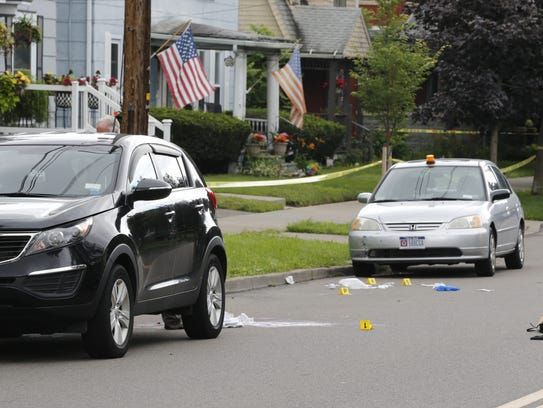 Evidence markers placed around the scene of a fatal