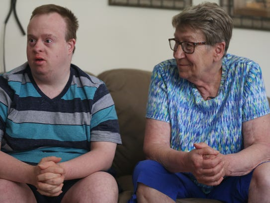 Marty Matteson and Marilyn Doocy, of Webster City talk