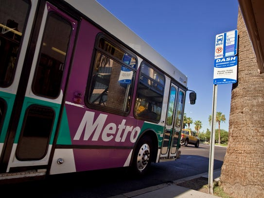 A bus stop on Washington Street at 15th Ave in Phoenix.