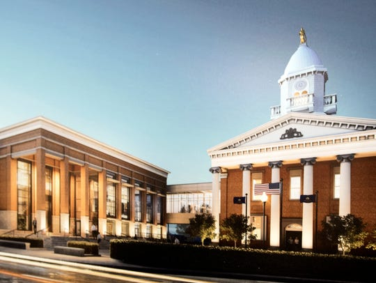 Here's what the site of the Chambersburg Trust building beside the Old Courthouse will look like once the new judicial center is built.