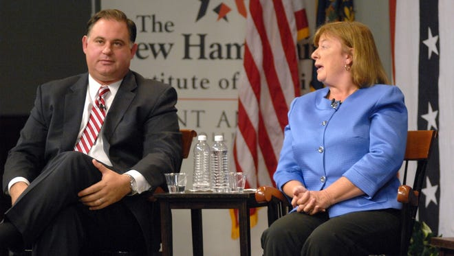 Defeated former representative Frank Guinta, R-N.H., shown during a 2012 debate with successful Democratic challenger Carol Shea-Porter, is running again in 2014.