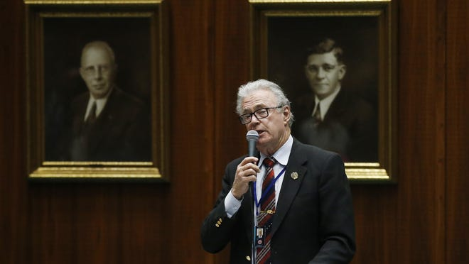 Rep. Noel Campbell, R-Prescott, speaks as lawmakers debate among three proposed bills that are designed to deal with distracted driving caused by cellphone use on the floor of the House of Representatives at the Arizona Capitol, Thursday, April 18, 2019, in Phoenix.