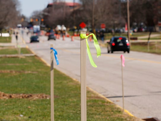 Numerous stakes with ribbons line Stadium Avenue Friday,