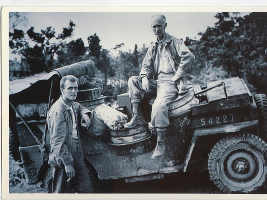 Ernie Pyle (right) America's beloved WWII war reporter, visits with a jeep driver on the island of le Shima just 8 days before he was killed. Pyle died April 18, 1945 on the front lines.