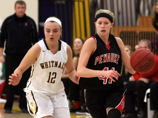 Pewaukee's Abby Gerrits (right) is pursued by Whitnall's Sierra Grubor on a break away at Whitnall on Dec. 11.