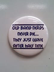 """Mike Graham, a Northeastern Middle School science teacher, received this magnet as a gift from a student after he referred to himself as an """"old band nerd."""""""