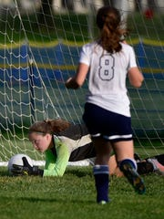 Shenandoah Valley goalkeeper Rebekah Max makes a save