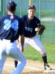 York Township first baseman Austin Martinez takes the