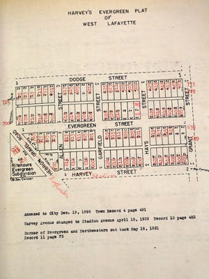 A document illustrates Harvey's Evergreen Plat, which was annexed to the city of West Lafayette on Dec. 19, 1898.