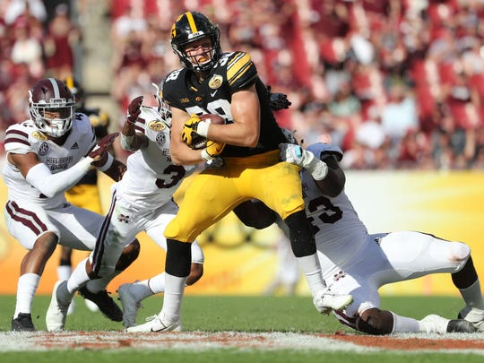 Former Iowa tight T.J. Hockenson's play at key times in the Outback Bowl sealed that victory over Mississippi State.