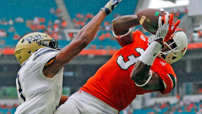 Miami receiver Stacy Coley catches a touchdown pass against Pittsburgh in the first quarter Nov. 5, 2016 in Miami Gardens, Fla.