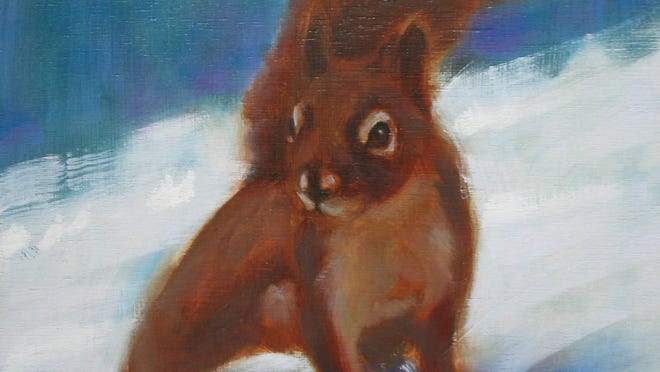 """Squirrel!"" oil painting by Greg Bracken, part of the ""Gifts From the Heart"" exhibit at Edgewood Orchard Galleries in Fish Creek."