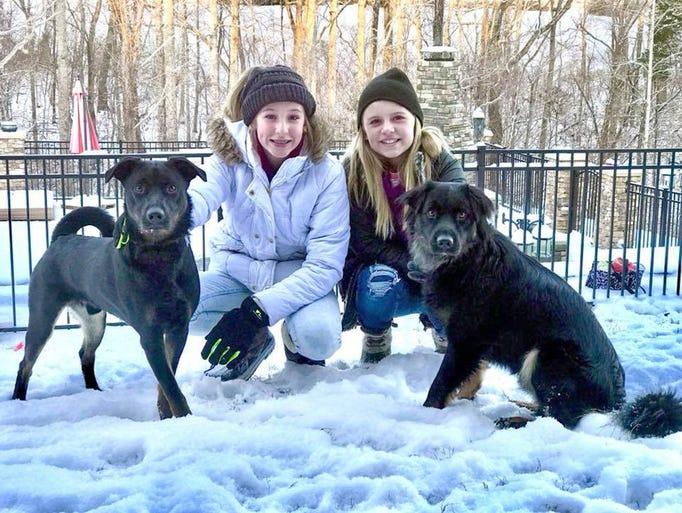 Shadow, Reese Durham, Bear and Avery Thrower enjoying