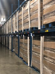 Pallets of eggs wait to be shipped from the Herbruck's