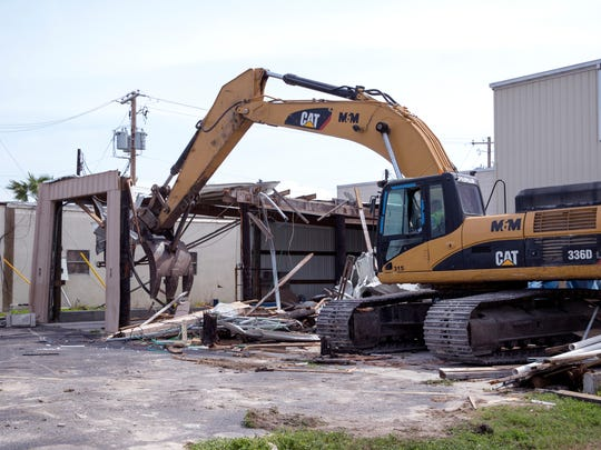Auxiliary buildings at the Port Aransas Independent School District are torn down March 26, 2018. The buildings, which include the district's bus barn, were damaged by Hurricane Harvey. The district had $12.5 million in facility damage from the hurricane.