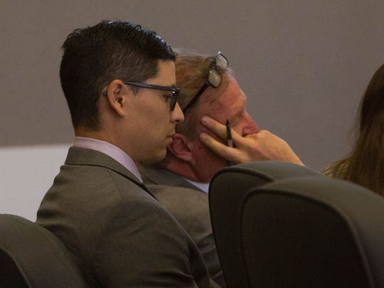 Tai Chan sits in court as Joseph Foster, an independent crime scene investigator and expert witness for the prosecution, gives his testimony Wednesday May 17, 2017 at the Third Judicial District Court in Las Cruces.