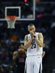 March 15, 2018 - Memphis Grizzlies forward Chandler Parsons (25) blows into his clasped hands during the first quarter against the Chicago Bulls at FedExForum on Thursday night in Memphis.