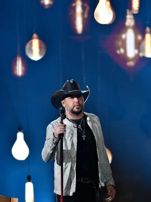 Jason Aldean performs during the 53rd Academy of Country Music Awards at the MGM Grand Garden Arena on Sunday, April 15, 2018, in Las Vegas.
