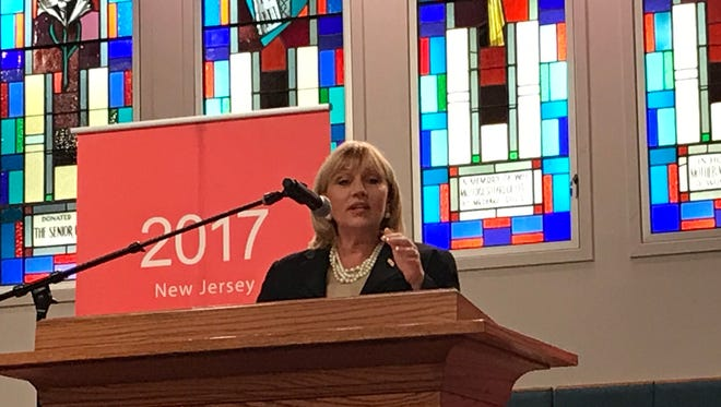 Republican gubernatorial candidate Lt. Gov. Kim Guadagno speaks at Opportunity NJ's Affordability Summit 2017 on Sept. 18 at First Baptist Church of Lincoln Gardens in the Somerset section of Franklin.