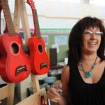 Audrey Dueñas in the music room at Spreckels Elementary School. She says music runs through her veins.