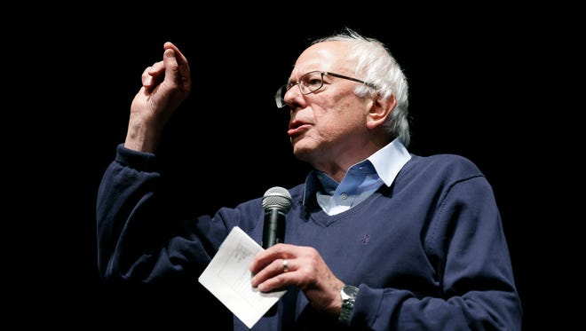 Democratic presidential candidate, Sen. Bernie Sanders, I-Vt., speaks during a concert hosted by his campaign, Friday, Oct. 23, 2015, in Davenport, Iowa.
