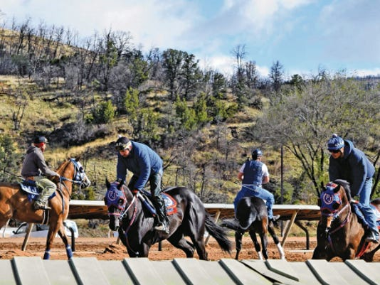 The horses were feeling frisky when the Ruidoso Downs' track opened for training leading up to opening day, May 22.