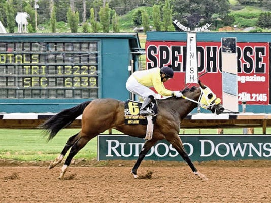 Dust Alert pulled away to win the Rio Grande Senorita Futurity Saturday.