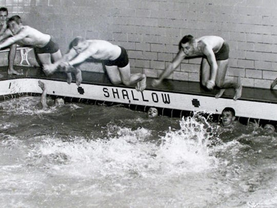 Swimmers are shown at the York YMCA pool located on the corner of Philadelphia and Newberry streets. The pool was the first home to the William Penn High School swimming team. The team swam at the York YWCA and eventually the pool at its high school. This picture originally appeared in The (York) Gazette and Daily.