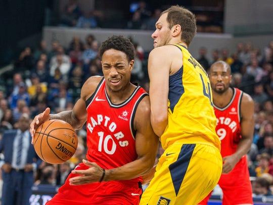 Toronto Raptors guard DeMar DeRozan (10) is fouled
