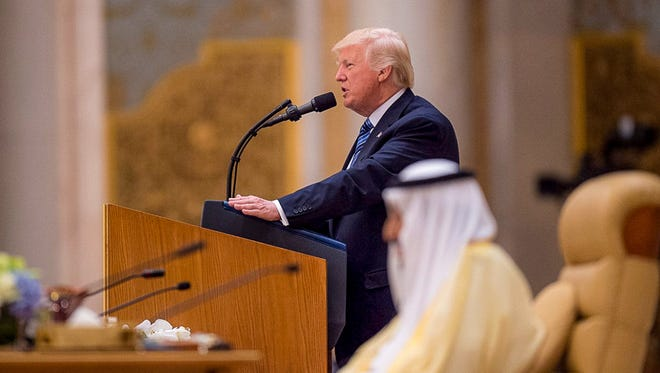 President Donald Trump delivers a speech to Arab and Muslim leaders during a summit in Riyadh, Saudi Arabia last month.