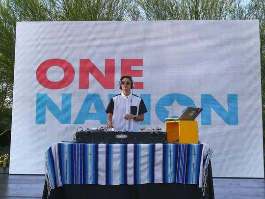 DJ Alf Alpha entertains at the One Nation:  Climate Change presentation at Sunnylands in Rancho Mirage, April 20, 2016.