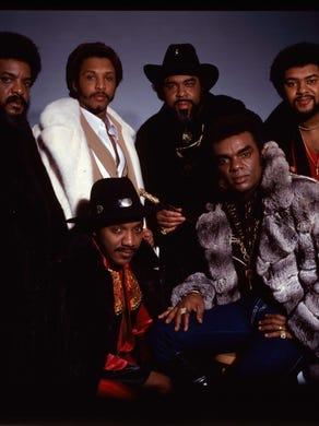 The Isley Brothers: back row is Kelly Isley, Chris Jasper, Rudolph Isley, Marvin Isley; front row is Ernie Isley and Ronald Isley.