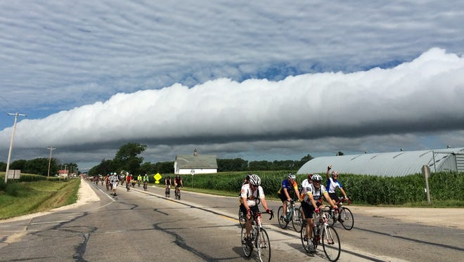 Register reporter Michael Morain captured this photo outside of Fonda during RAGBRAI 2015.