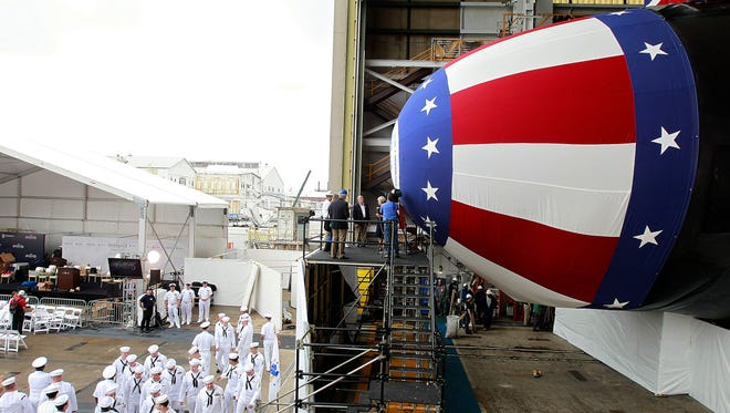 The Virginia-class submarine USS Indiana gets ready for christening ceremonies Friday April 28, 2017, at Newport News Shipbuilding in Newport News, Va. The ship will be christened Saturday with a crowd of about 4,000 expected along with Vice President Mike Pence.