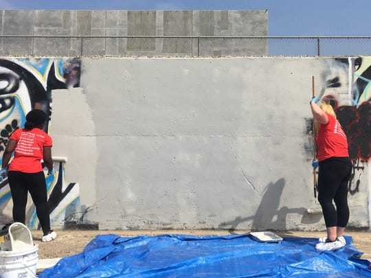 Dozens of CSU Channel Islands students painted over