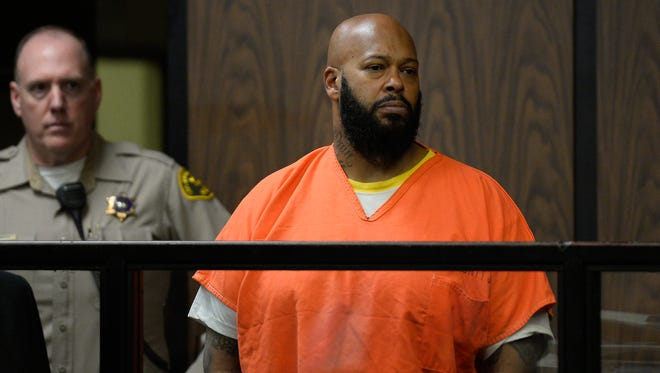 """Marion """"Suge"""" Knight appears in court during his arraignment , Tuesday, Feb. 3, 2015 in Compton, Calif.  Knight, 49,  pleaded not guilty on to murder, attempted murder and other charges filed after he struck two men with his truck last week."""