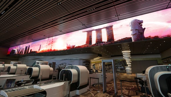 LED Immersive Wall behind security checkpoint at Changi