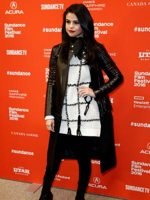 Selena Gomez arrives for the premiere of 'The Fundamentals of Caring' at the 2016 Sundance Film Festival in Park City, Utah.