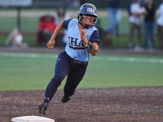 High school softball state Tournament of Champions final between Immaculate Heart Academy and Immaculate Conception at  Seton Hall University in South Orange on Friday, June 9 2017. IHA #13 Reese Guevarra on her way to third after getting a hit.