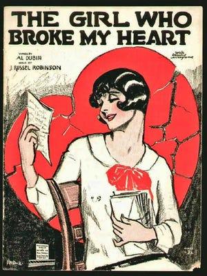 Sheet music heart motif.