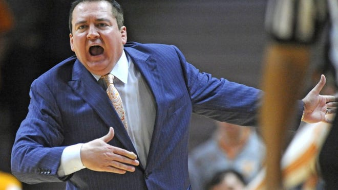 Tennessee coach Donnie Tyndall shouts from the sideline during Tennessee's 56-38 loss to Alabama Saturday, Jan. 10, 2015, at Thompson-Boling Arena. Tyndall was fired Friday after less than one year at Tennessee because of NCAA violations. (ADAM LAU/NEWS SENTINEL)