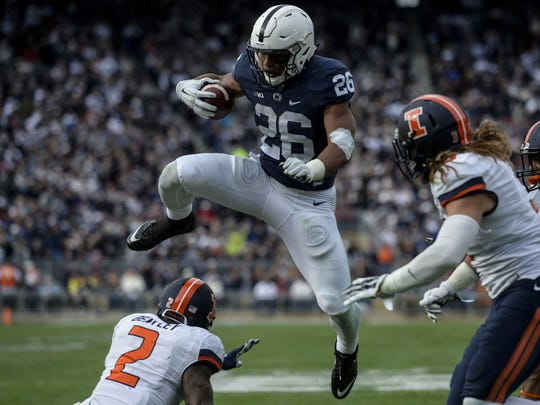 James Franklin said Penn State may have one of the best running back  groups in the nation with a more experienced Saquon Barkley (26), Andre Robinson and rookie Miles Sanders.