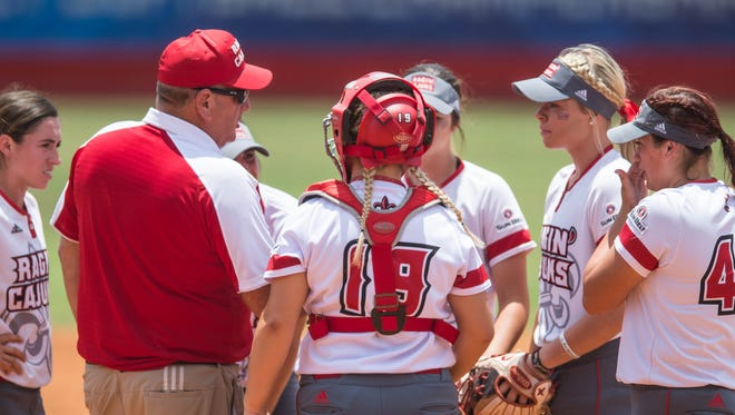 Head coach Gerry Glasco talks to his team after having a shaky first inning in the championship game of the 2018 Sun Belt Conference softball tournament at Lamson Park on Saturday May 12, 2018.
