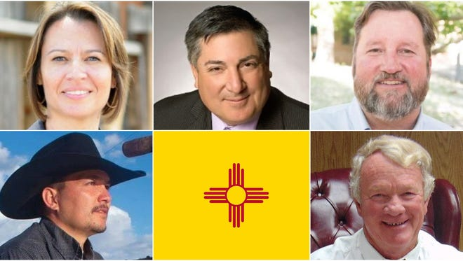 New Mexico Land Commissioner candidates, from top left, clockwise, include Democrats Stephanie Garcia Richards, George Muñoz and Garrett VeneKlasen, Libertarian Michael Lucero and Republican Pay Lyons.