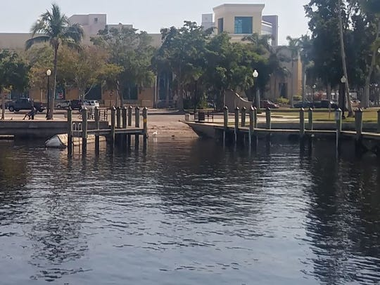 Downtown Fort Myers boat ramp with Harborside Event