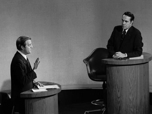 Walter Mondale and Bob Dole take part in their debate