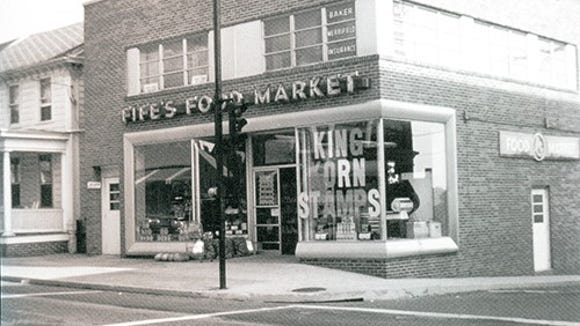 "This is one of many photographs in ""Around Dallastown."" Then it was Fife's Food Market. Today, it is Roma's Pizza.The Fife Family ran the store from the 1940s to 1978 and the business closed as a grocery store in 1986."