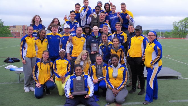 The Rowan College of Gloucester County men's and women's track teams celebrate strong showing at last week's national championships. The men's team won a national title while the women's team finished second.